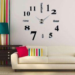 Stickers miroirs grand en Ligne-2019 design moderne précipité horloges à quartz de mode montres acrylique miroir autocollant bricolage salon décor 3D grande horloge murale