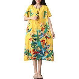 Robe en lin à carreaux lâche en Ligne-Mode Grande Taille D'été Robe À Manches Courtes Femmes Robe Casual Lâche Imprimer Coton Robe En Lin De Coton-Robe De Cou