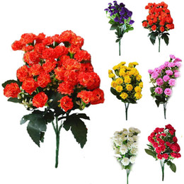 Flores artificiales al por mayor claveles online-Al por mayor-Moda Artificial Silk Flowers Carnation 30 Buds Flowers 6 Branches 1 Bouquet Mother Lilac Flower Craft For Wedding Home Party