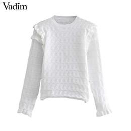 Vadim mujer básica negro blanco suéter de punto estilo corto volantes ahueca  hacia fuera suéteres elásticos femeninos casual tops HA346 b7b3c24d6271