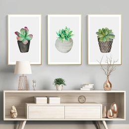 Pote de imagens de pintura on-line-Imprimir Wall Art Nórdica Verde vaso de plantas Pictures Poster moderna da lona Pintura para sala quartos casa Unframed decorativa