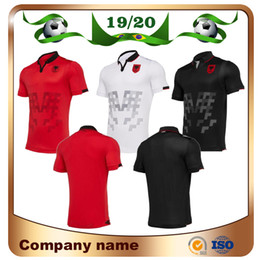 2019 Albânia Casa Camisa De Futebol Vermelha 19/20 Albânia Fora Camisas De Futebol Branco Terceiro fora Preto Curto manga nacional uniforme de futebol de