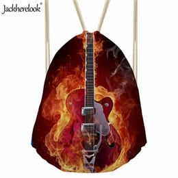 2019 fogo de guitarra Jackherelook Fire Animal Projeto Guitarra Homens Da Escola Saco de Cordão Grande Ombro de Armazenamento Mochila Ao Ar Livre Pacotes de Viagem de Verão fogo de guitarra barato