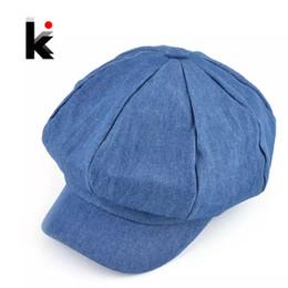 cappelli di denim donna Sconti Cappelli popolari di newsboy di disegno popolare womens lavato denim cappello casuale cappello ottagonale berretto autunno e inverno cappelli per le donne