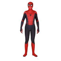traje de capa roxa Desconto Homem Aranha Traje de Halloween Roupas de Festa com Chapelaria Digital Impresso Manga Comprida Red Magro Uniformes Cosplay