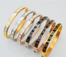 Luxo Designer de Jóias Mulher Bangle Bracelet 316L Aço De Titânio Pulseira Numeral Romano Rosa de Ouro de Noivado De Prata Pulseira De Casamento Pulseira de