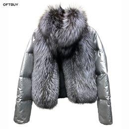 straußenfedermantel xl Rabatt 2019 Winterjacke Frauen echten Pelz natürliche Pelzkragen lose Kurzmantel Splitter weiße Ente Daunenjacke koreanische Kleidung