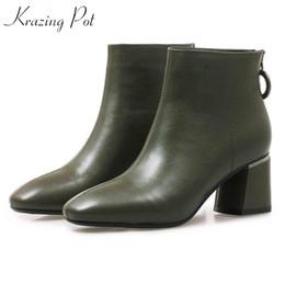 5967ce393f2 2019 botas de salto alto nude Krazing Pot 2019 novo couro de grão integral  dedo do