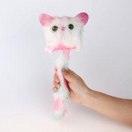 títeres parlantes Rebajas Creativo gato de peluche de juguete para niños muñeca suave cola larga lindos juguetes de interacción Light Up Eyes regalo de Navidad