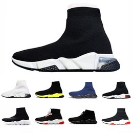 zapatos deportivos paris Rebajas Balenciaga sock shoes casual tipo calcetín  de marca ACE Speed Trainer 2019 Negro Rojo Triple Calzado de moda sock shoes negro Zapatillas de deporte casual sock shoes