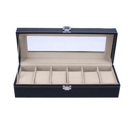 schmuck-display-abdeckungen Rabatt 6 Slots Armbanduhr Vitrine Box Schmuck Aufbewahrungsbox Organizer Box mit Hülle Schmuck Uhren Display Halter Organizer