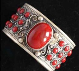 Braccialetto d'argento rosso corallo online-Bello polsino dei braccialetti del corallo rosso d'argento del braccialetto del giada di Jewelryr trasporto libero