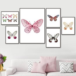 butterfly art prints Coupons - Watercolor Butterfly Specimens Animals Wall Art Canvas Painting Nordic Posters And Prints Wall Pictures For Living Room Decor