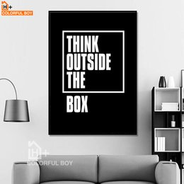2019 lienzos en blanco negro COLORFULBOY Tipografía Think Quotes Canvas Painting Black White Wall Art Print Modern Poster Wall Pictures For Living Room Decor rebajas lienzos en blanco negro