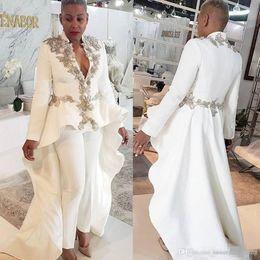 2019 vestidos de nancy ajram Árabe vestidos de noche de las mujeres blancas del mono de manga larga con cuentas cuello en V profundo vestido de fiesta por encargo del tren del barrido partido formal Vestidos