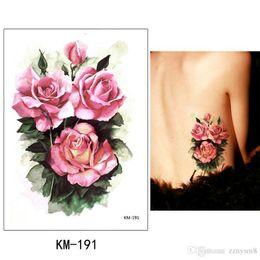 Cubrir cicatrices tatuajes online-Pegatinas de tatuaje de brazo de flor pegatinas de tatuaje de mariposa de color femenino a prueba de agua rosa grande cicatriz cubierta de yeso Decoración de bikini