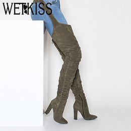 cb3ece39e208 WETKISS Flock Sexy Female Fashion Leggings Boots Trousers Women Shoes Thick High  Heels Boots Buckle Pants Woman 2019 New