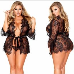 2019 sei pezzi vestito Lace delle donne sexy Pigiama Prospettiva Plus Size Per 9XL signore biancheria intima femminile Abbigliamento