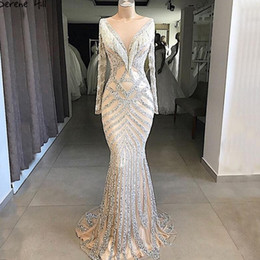 nude slim evening dress Promo Codes - New Dubai Nude Slim Mermaid Pageant Dresses 2019 Long Sleeves Beading Tassel Fashion Formal Prom Evening Gown