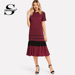 Canada Sheinside Bordeaux Colorblock Rayé Ourlet Plissé Robe D'été Femmes Manches Courtes Robes Casual 2019 Taille Ceinture Robe Longue cheap long sleeve colorblock dress Offre