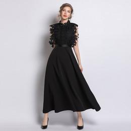 chiffon hochzeitskleid tropfen ärmel Rabatt 2019 Frühjahr neue Bankettkleid Frauen Explosionen Stehkragen wasserlösliche Spitze schwarzen Kleid langen Abschnitt