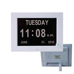 8-дюймовый цифровой календарь будильник день часы с 3 вариантами сигнализации, очень большой не сокращенный день месяц настройки цветного дисплея от