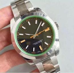 Relojes luminosos para hombre. online-Top clásico Rayo MILGAUSSS reloj Negro 40MM estándar Dial hombres Movimiento automático de plata relojes luminosos de pulsera