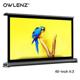 2019 tela de tela dobrável OWLENZ 40 4: 3 Mini Alumínio Mesa Ao Ar Livre Mesa de Montagem Na Parede Tela de Projetor de Projeção para DLP LEVOU Projetor de Cinema Privado