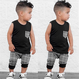 outfit grid Coupons - 2019 Ins Baby Kids Grid Tracksuit Sleeveless Vest + Gray Plaid Shorts 2pcs set Casual Outfits Boys Children Summer Cloth Set 70-140cm A32601