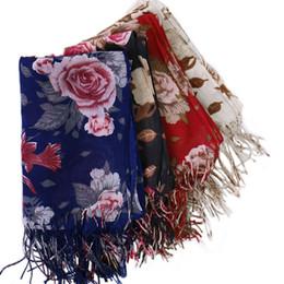 pashminas schals herbst jahrgang Rabatt Marke 2019 Viscose Herbst-Winter-Frauen Vintage Blumen warme Kaschmir-Schal Luxus Neck Bandana Pashminas Lady Wrap