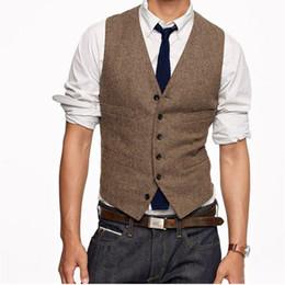 Новый стиль мужской жилет онлайн-Новый Винтаж коричневый твидовые жилеты шерсть елочка британский стиль на заказ мужской костюм портной slim fit пиджак свадебные костюмы для мужчин