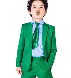 Tuxedo di laurea online-Green Boys Suit Wedding Prom Tuxedos formale 2 pezzi Pagina Ragazzo personalizzato festa di laurea Party Suit Bespoke