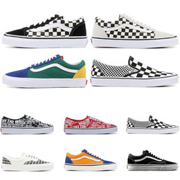 basketball shoes mix Promo Codes - New Designer Original old skool MIx Checker OTW REPEAT FEAR OF GOD CHECKERBOARD canvas mens sport sneakers fashion casual shoes size 36-44
