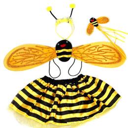 Jupe cosplay rouge en Ligne-4 Pièces Ensembles Halloween Costumes D'abeille De Noël pour Enfants Filles Cute Party Déguisements Cosplay Ailes + Jupes Tutu Jaune Rouge