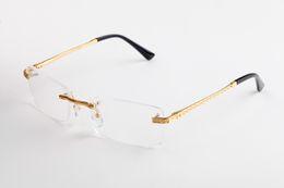 Gafas de marco rectangular online-Lentes transparentes Gafas Montura de metal sin montura Gafas de sol Rectángulo Gafas Varias opciones para hombre Unisex Alta calidad con estuche y caja