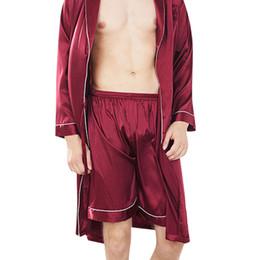 Ropa de dormir para hombre pantalones cortos online-Para hombre del sueño Bottoms la ropa de noche de los hombres la ropa interior de satén de seda sólido cortocircuitos de los boxeadores ropa de dormir pijamas