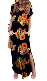16 Colors Womens Long Casual Dress Solid Color Split Pocket Fashion Bohemian Floral Print Maxi Summer Dress V-Neck Muslim Dress XXL DHL Free de