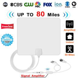 Télévision numérique blanche en Ligne-Antenne TV d'intérieur numérique numérique HD 80 miles avec amplificateur Signal TV satellite Antennes Surf Radius DVB-T2