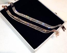 Chica de cadena completa online-Super brillante! Nuevo ins fashion luxury designer full rhinestone diamond link chain pulsera para mujer niñas 17cm oro rosa plata