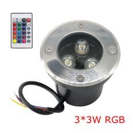2019 12v светодиодные фонари Edison2011 9W IP67 3 х 3W LED Inground света RGB с 24 клавиш контроллера Underground Light Изменение цвета Открытый Buried LED Uplight скидка 12v светодиодные фонари