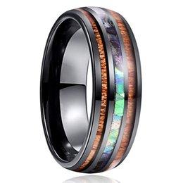 banda di comodità Sconti 8 millimetri nero del carburo di tungsteno anelli intarsio di legno e di Shell Wedding Bands per il formato Uomini Comfort Fit US 6-13