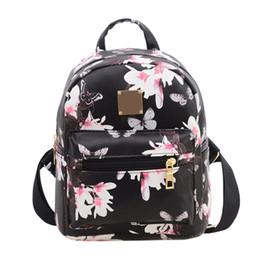 Rosa taschen für die schule online-Frauen Rucksack Floral Travel PU Leder Schulter Schultasche Lot Schwarz Weiß Rosa