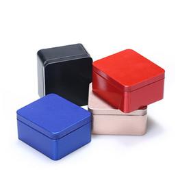 Latas de té vacías online-Square Metal Mini Candy Box Empty Sealed Tin Box High Quality Food Storage Case Coffee Tea Container