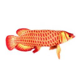 Cosas de oro online-Al por mayor-Gold Arowana 67CM Red Color plush big fish dibujos animados juguetes de peluche animales de peluche cojín juguetes para niños almohada larga Regalos de Navidad