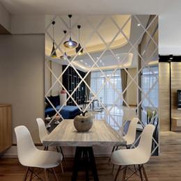 2019 adesivos abençoados Triângulos de diamantes Espelho Acrílico Etiqueta Casa Decoração 3d Diy Decalques de Parede Arte Para Sala de estar Decoração de Casa Q190531