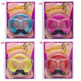 2019 óculos de truque Ferramentas 4styles Óculos Barba Straw Óculos Pipeta Decoração Acessórios aniversário foto adereços presente do partido FFA3008 favor truque brinquedo