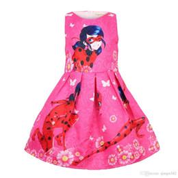 Estampados de mariquita online-2019 Niños diseñador vestido de las niñas de impresión sin mangas falda sin mangas verano de dibujos animados niña princesa falda falda de mariquita