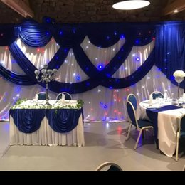 3 M * 6 M Colore bianco Seta di ghiaccio Fondali di nozze con Royal Blue Swag Stage Background Drappo Tenda matrimonio baby shower decor per feste da tende blu royal fornitori