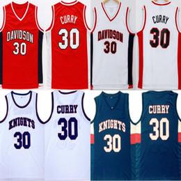 2019 curry de oro blanco # 30 Stephen Curry Universidad Davidson Wildcats Rojo Blanco jerseys del baloncesto para hombre cosido Stephen Curry caballeros de la High School Jersey rebajas curry de oro blanco