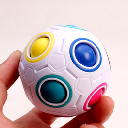 puzzle ball game Promo Codes - 7cm Rainbow Ball Magic Cube Puzzle Football Fun Novel Spherical Puzzles Kids Educational Learning Toy Game Gifts Opp Package LA304